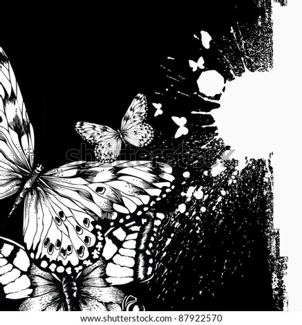 Abstract background with butterflies and ink blots. Vector illustration. - stock vector