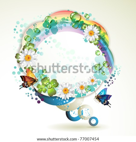Abstract background with butterflies, flowers, rainbow and drops of water - stock vector
