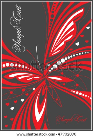 abstract background with butterfly - stock vector
