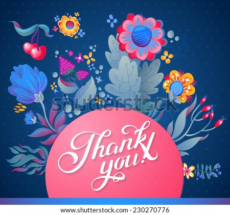 "Abstract Background with Calligraphy Quote ""Thank You"", vector design. Floral  Background - stock vector"