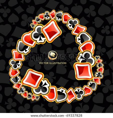Abstract background with card suits. - stock vector