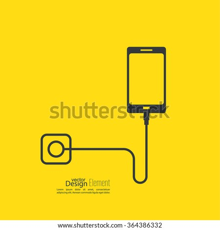Abstract background with charge mobile phones. The charge from the power outlet usb by cable - stock vector