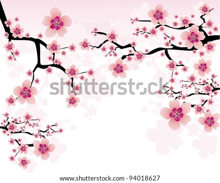 abstract background with cherry blossom - stock vector