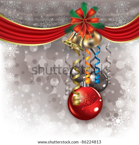 Abstract background with Christmas bells and decorations - stock vector