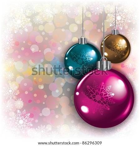 Abstract background with Christmas decorations and snowflakes - stock vector