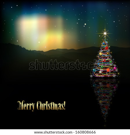 abstract background with Christmas tree and aurora borealis - stock vector