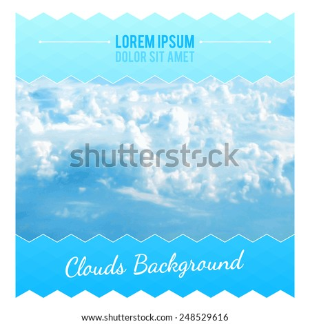 Abstract Background With Clouds. Flyer Layout Design Template. Vector illustration - stock vector