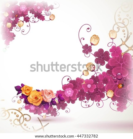 Abstract background with clover and rose - stock vector