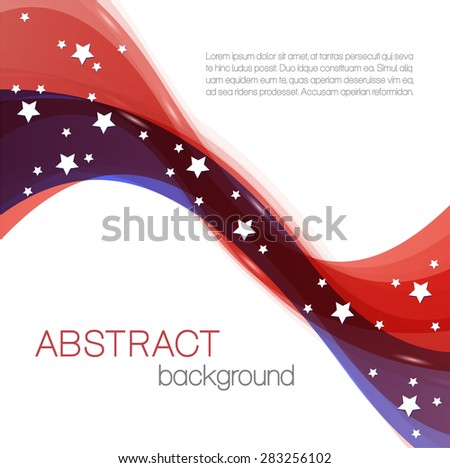Abstract background with color waves and stars