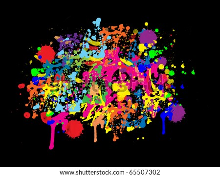 abstract  background with colorful bright ink splat on black - stock vector