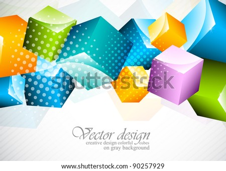 Abstract background with colorful cubes - stock vector