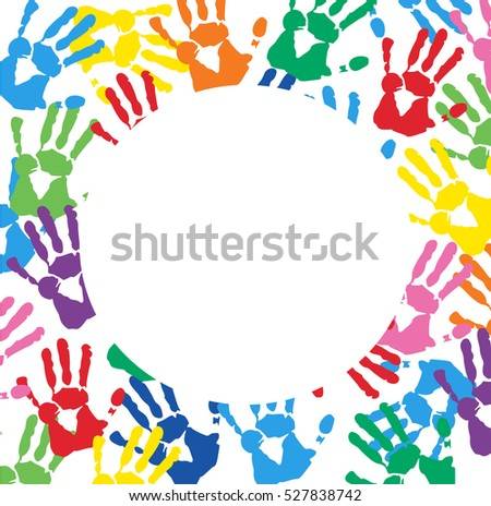 Abstract Background with Colorful Hand prints