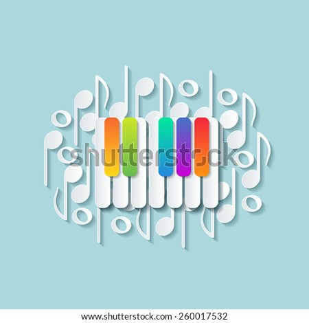 Abstract background with colorful keys of pianoforte, musical theme wallpaper.  - stock vector