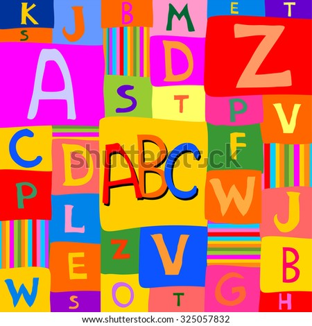 Abstract background with colorful rainbow letters. Vector Illustration - stock vector
