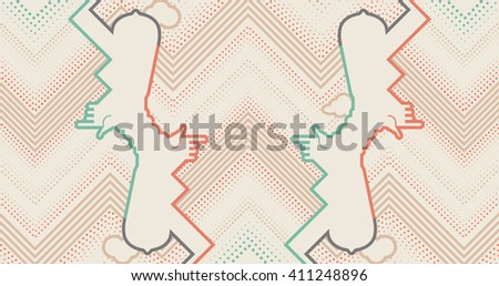 Abstract background with contour hands, clouds and dots. Pop art style background - stock vector