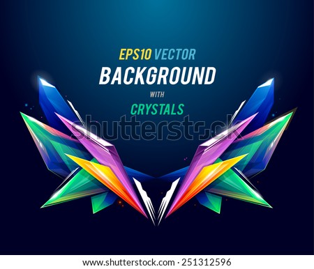 Abstract background with crystal geometric shapes. Vector illustration. - stock vector