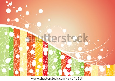 Abstract background with curls, stripes and dots - stock vector