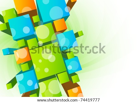Abstract background with 3d cubes - stock vector