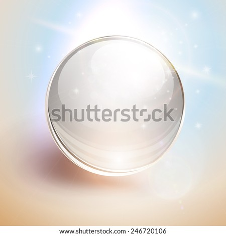 Abstract background with 3D glass sphere, ball transparent with lens flares, vector. - stock vector