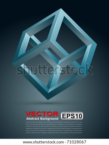 Abstract background with 3D impossible cube, vector illustration. - stock vector