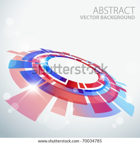 Abstract background with 3D red and blue object and place for your text - stock vector
