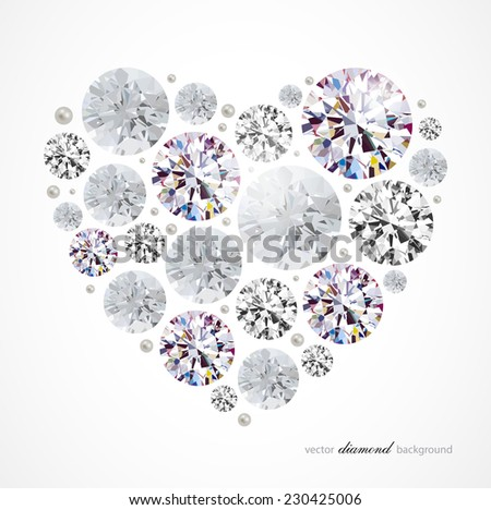 Abstract background with diamond heart - stock vector