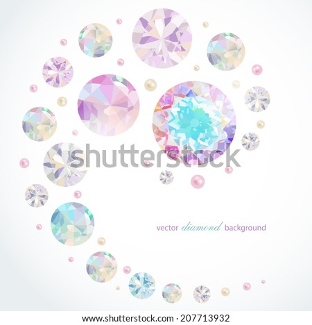 Abstract background with diamonds and pearls - stock vector