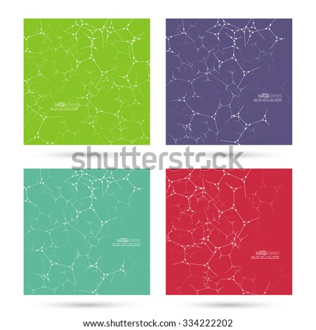 Abstract background with DNA strand, atom, molecule structure. genetic and chemical compounds. vector green, violet, purple, red - stock vector