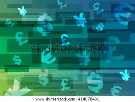 Abstract background with Dollars Sign, Japanese Yen Currency Sign, British Pound Currency Sign, Euro Currency Symbol, Abstract Green/Blue Background. Vector Illustration. - stock vector