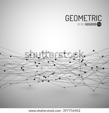 Abstract Background with Dots Array and Lines. Connection Structure. Geometric Modern Technology Concept. Digital Data Visualization. Vector illustration - stock vector