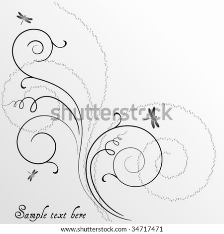 abstract background with dragonflies and space for text - stock vector