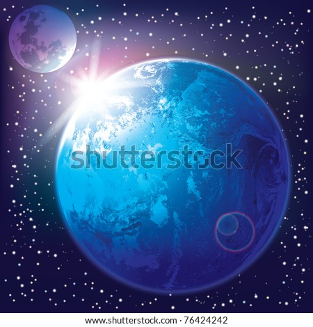 abstract background with earth and moon in the space - stock vector