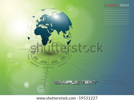 abstract background with earth globe, vector. - stock vector