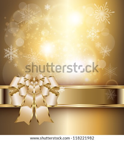 Abstract background with elegant gold banner and a bow, vector. - stock vector