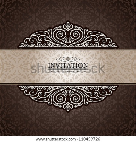 Abstract background with exclusive, antique, luxury vintage, brown frame, creative ornamental banner; damask, graphic ornaments, invitation card, antique, style booklet, pattern template for design - stock vector