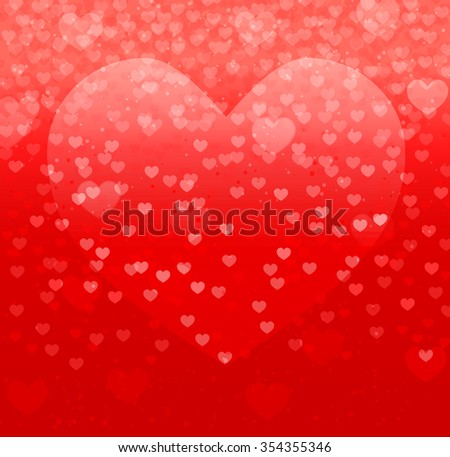 abstract background with falling hearts and red heart shape background. vector illustration - stock vector