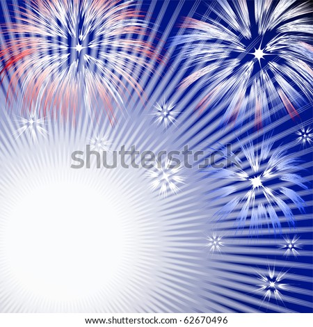 Abstract background with fireworks explosions - stock vector
