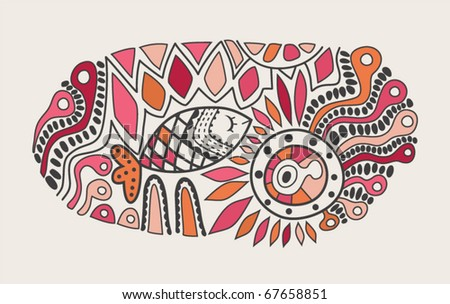 Abstract background with fish - stock vector