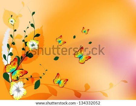 abstract background with flowers and butterfly
