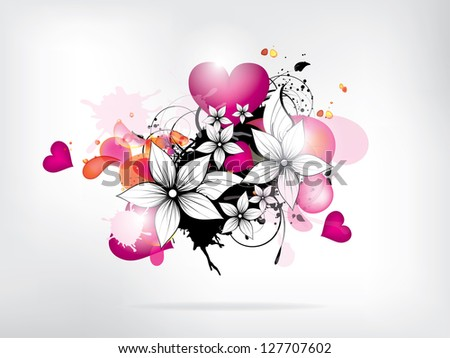 Abstract background with flowers and heart