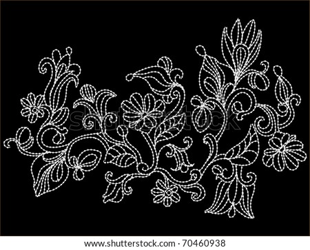 abstract background with flowers in the form of embroidery - stock vector