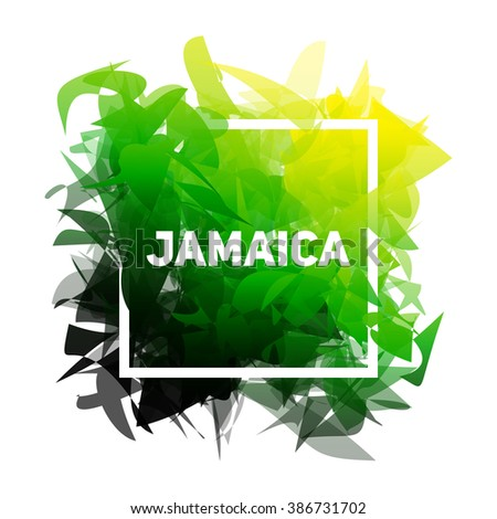 Abstract background with frame for text. Jamaica colors. - stock vector
