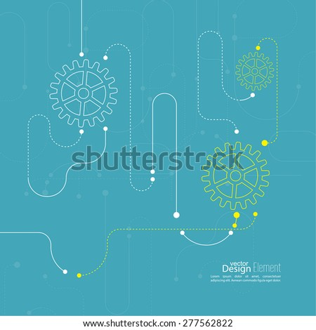 Abstract background with gear wheel, geometric shapes and dotted lines. schematic representation technical data. Concept of motion,  mechanics, connection and operation engineering design work.  - stock vector