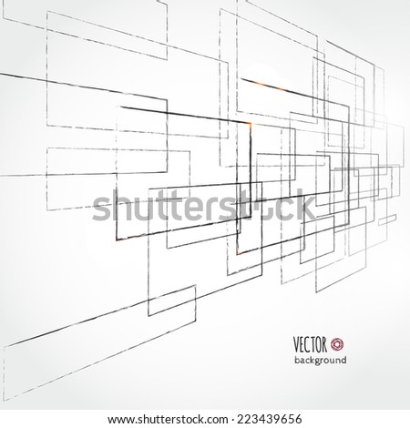 Abstract background with geometric elements, hand drawn sketch style. Vector illustration for your business presentation - stock vector