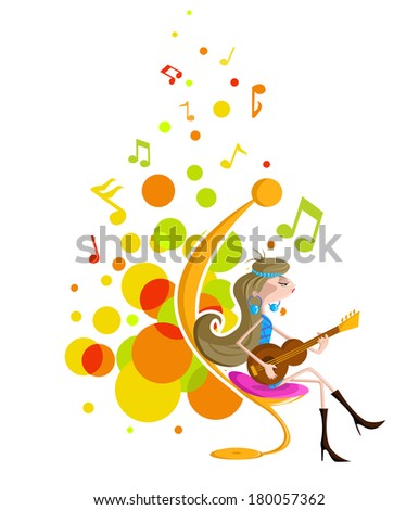 Abstract background with girl playing guitar - stock vector