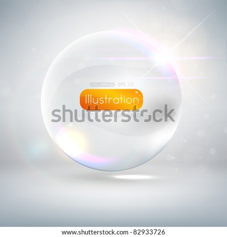 Abstract background with glass ball as vector speech bubble - stock vector