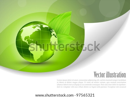 Abstract background with globe and green leaves - stock vector