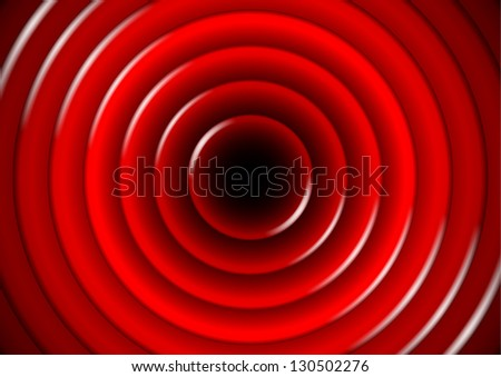 Abstract background with glossy red concentric circles - stock vector