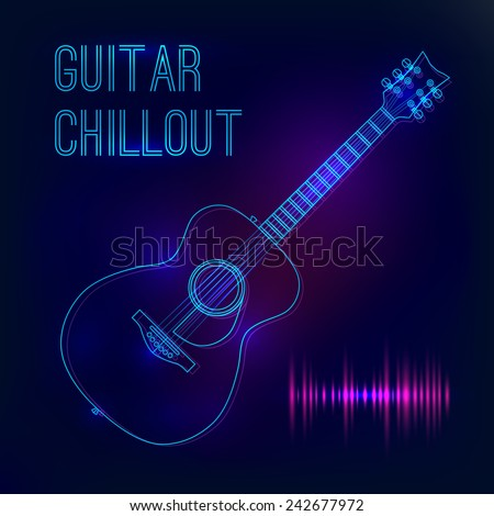 Abstract background with glowing acoustic guitar. Poster for a concert or nightclub. - stock vector