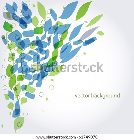 Abstract background with green and blue leaves - stock vector